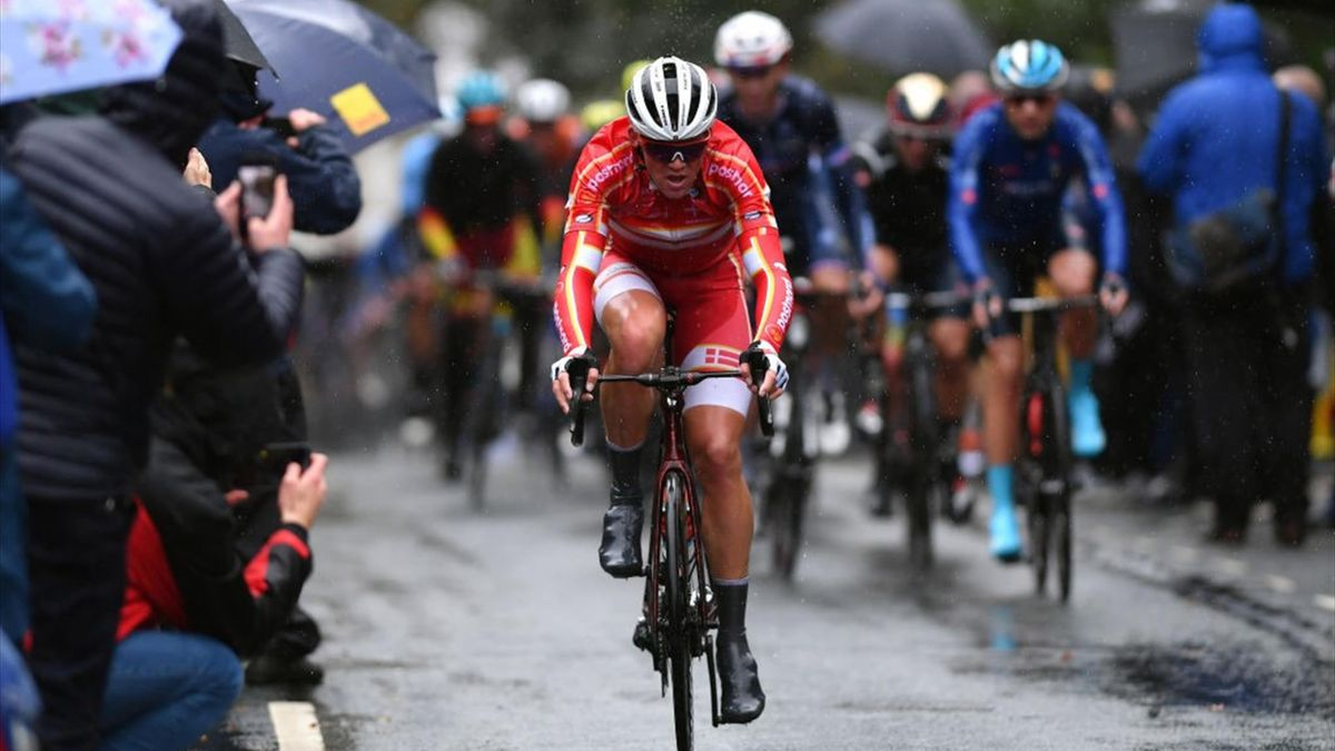 HARROGATE, ENGLAND - SEPTEMBER 29: Mads Pedersen of Denmark / Rain / Fans / Public / during the 92nd UCI Road World Championships 2019, Men Elite Road Race a 261,8km race from Leeds to Harrogate 125m / RR / @Yorkshire2019 / #Yorkshire2019 / on September 2