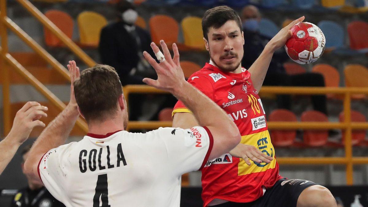 Alex Dujshebaev, en el España-Alemania del Mundial de balonmano 2021