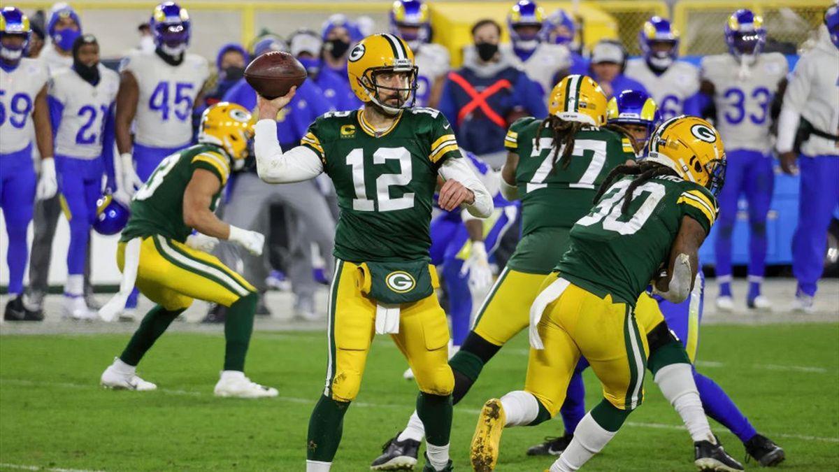 Aaron Rodgers lors de Green Bay Packers - Los Angeles Rams en Playoff NFL le 16 janvier 2021