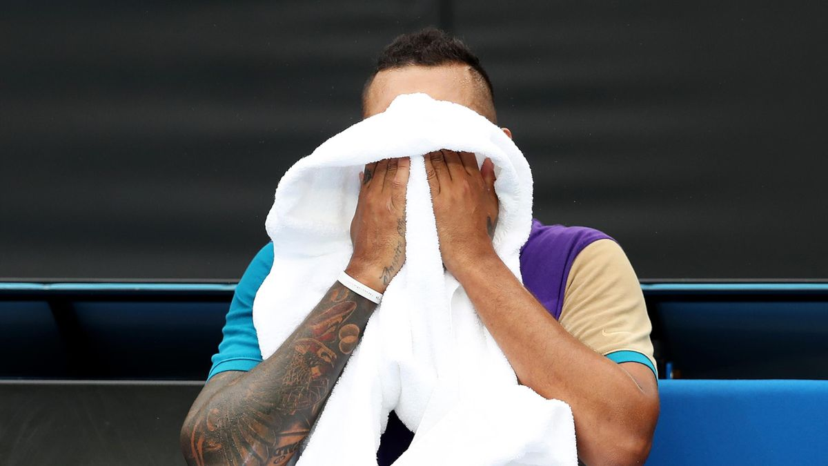 Nick Kyrgios of Australia reacts