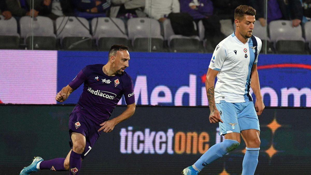 Franck Ribery and Sergej Milinkovic-Savic - Fiorentina-Lazio Serie A 2019-20