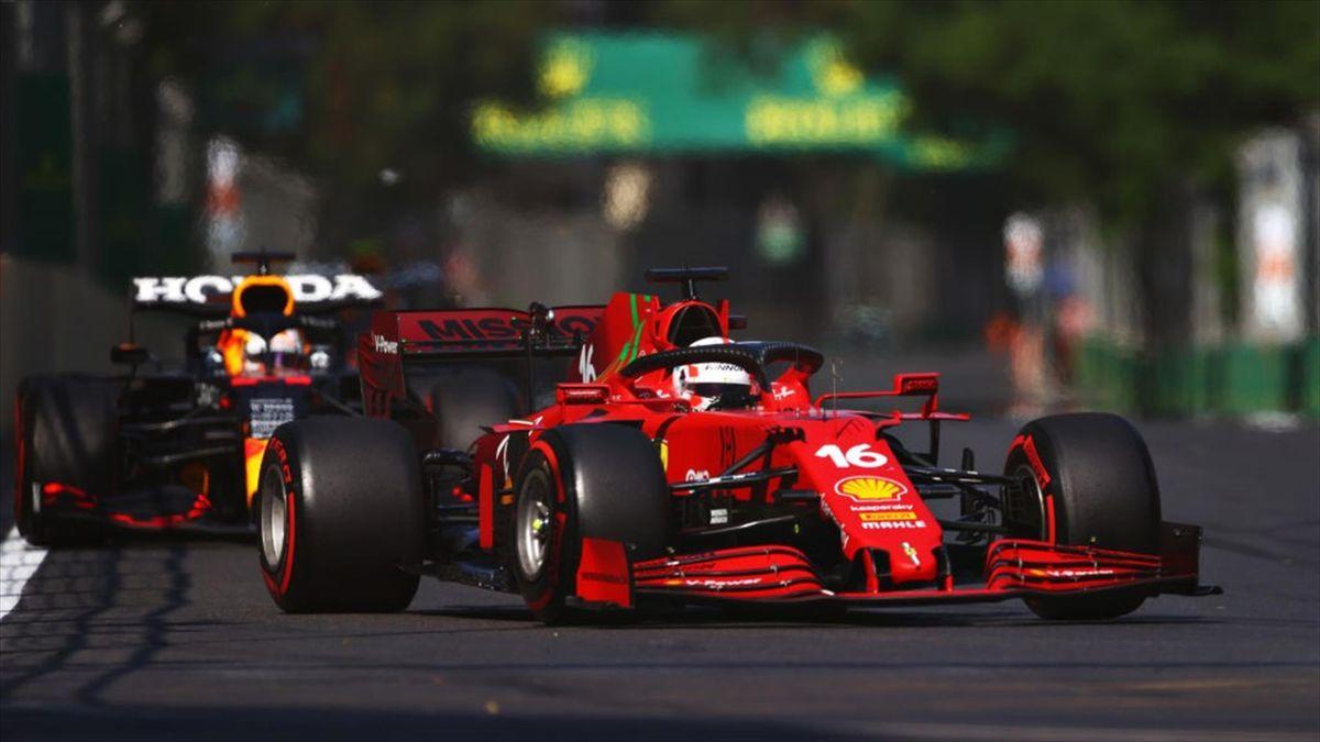 Der Ferrari von Charles Leclerc in Baku