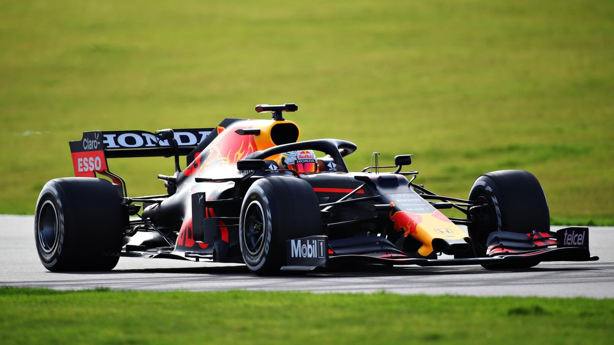 Max Verstappen of Netherlands driving the Red Bull Racing RB15 Honda during the Red Bull Racing Filming Day at Silverstone on February 24, 2021 in Northampton