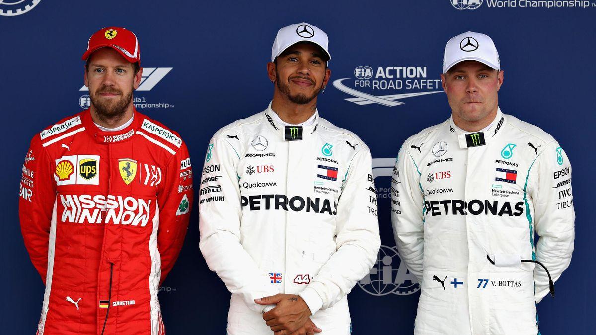 Lewis Hamilton (Mercedes), Sebastian Vettel (Ferrari) et Valtteri Bottas (Mercedes) au Grand Prix du Brésil 2018
