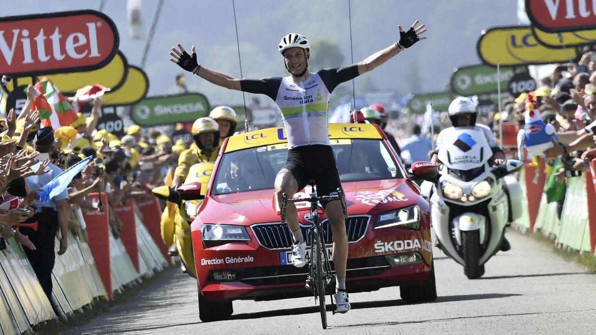Stephen Cummings à l'arrivée de la 7e étape du Tour au Lac de Payolle, vendredi 8 juillet 2016