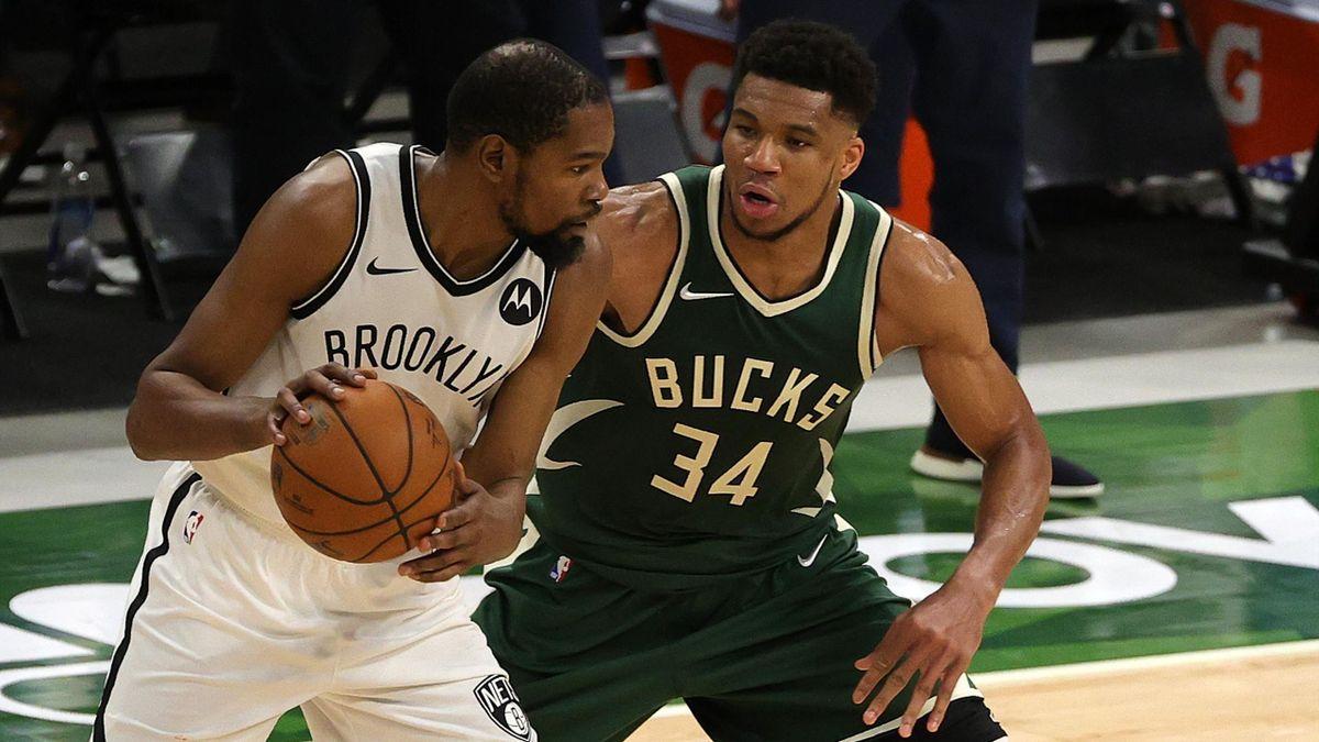 Durant e Antetokounmpo, Bucks-Nets, NBA 2020-21