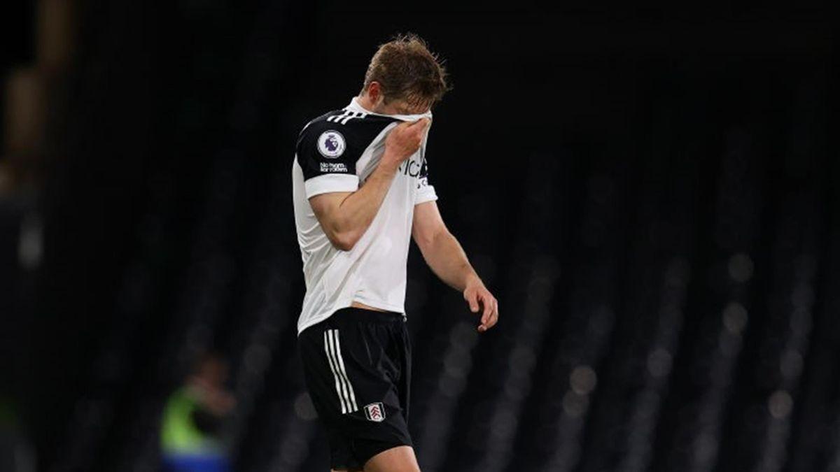 Joachim Andersen (Fulham) lors de la relégation du club, défaite par Burnley en Premier League le 10 mai 2021