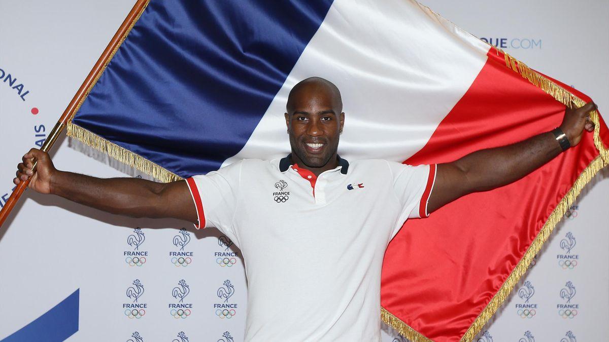 Teddy Riner, le porte-drapeau de l'équipe de France olympique lors des Jeux de Rio 2016