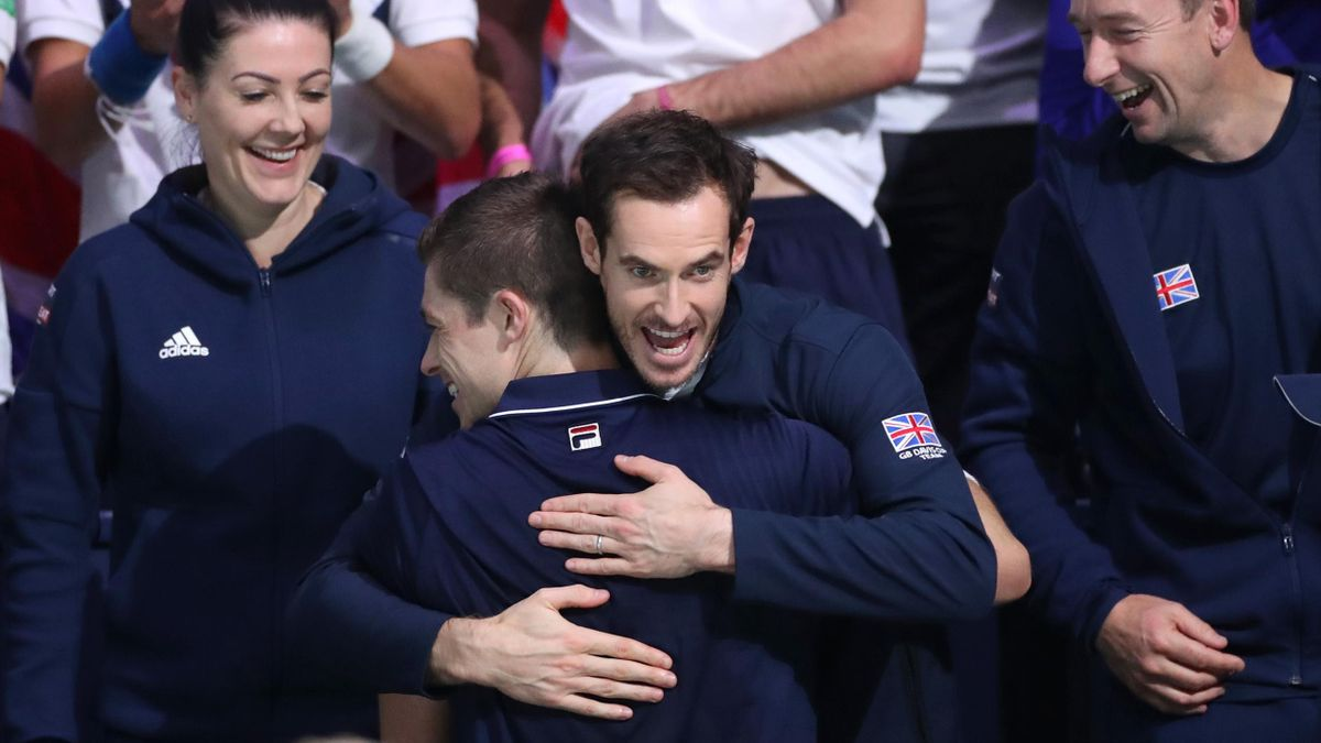 Andy Murray and Neal Skupski of Great Britain celebrate following the Great Britain v Kazakhstan doubles match during Day 4 of the 2019 Davis Cup at La Caja Magica