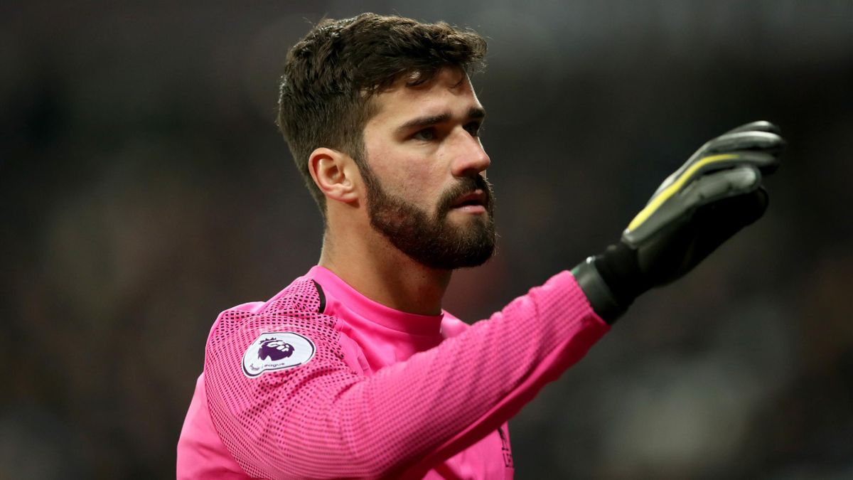 Alisson of Liverpool during the Premier League match between West Ham United and Liverpool FC at London Stadium on February 4, 2019 in London, United Kingdom.