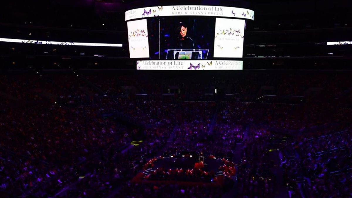 "Kobe Bryant's wife Vanessa Bryant speaks during the ""Celebration of Life for Kobe and Gianna Bryant"" service at Staples Center in Downtown Los Angeles on February 24, 2020"