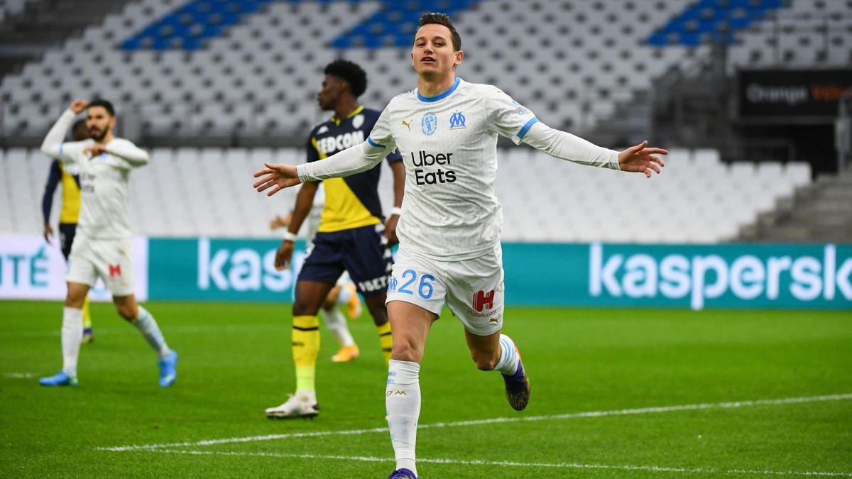 Florian Thauvin (Marseille) face à Monaco.