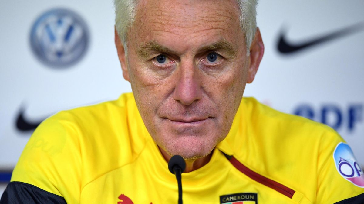 Cameroon's Belgian head coach Hugo Broos gives a press conference