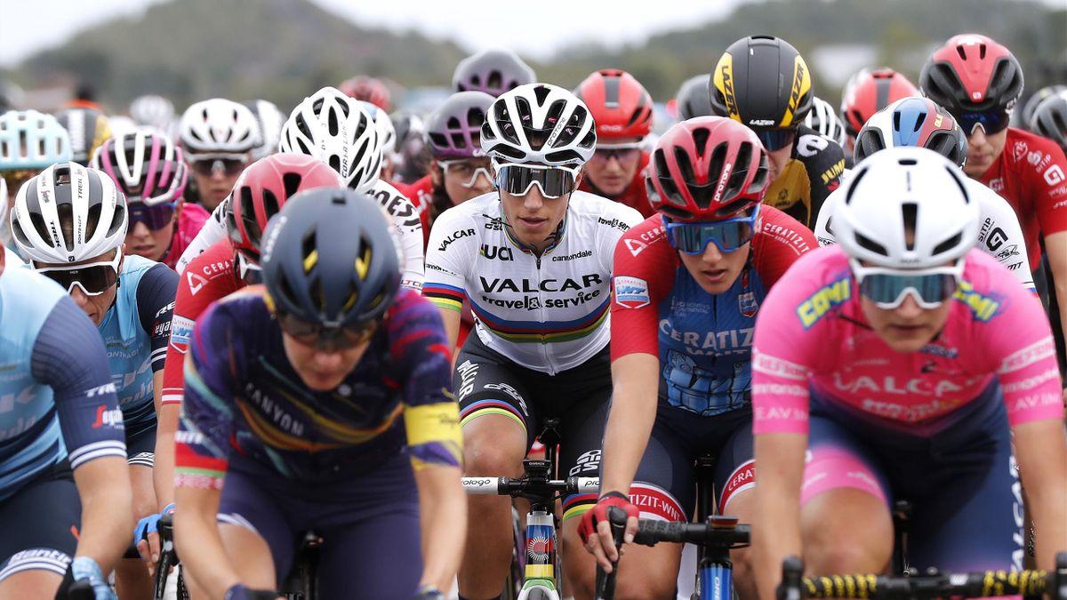ROUBAIX, FRANCE - OCTOBER 02: Elisa Balsamo of Italy and Team Valcar - Travel & Service world champion rainbow jersey competes during the 1st Paris-Roubaix 2021 - Women's Elite a 116,4km race from Denain to Roubaix / #ParisRoubaixFemmes / #ParisRoubaix /
