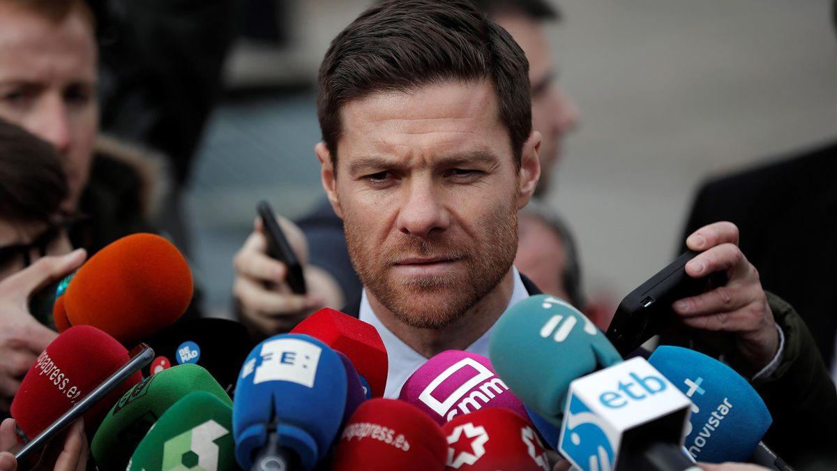 Former Spanish football player Xabi Alonso speaks to media