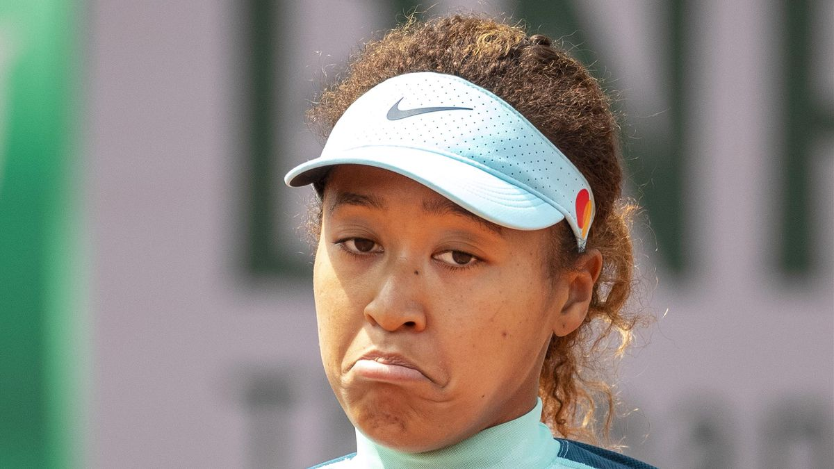 Naomi Osaka of Japan reacts while practicing on court five in preparation for the 2021 French Open Tennis Tournament at Roland Garros on May 29th 2021 in Paris, France
