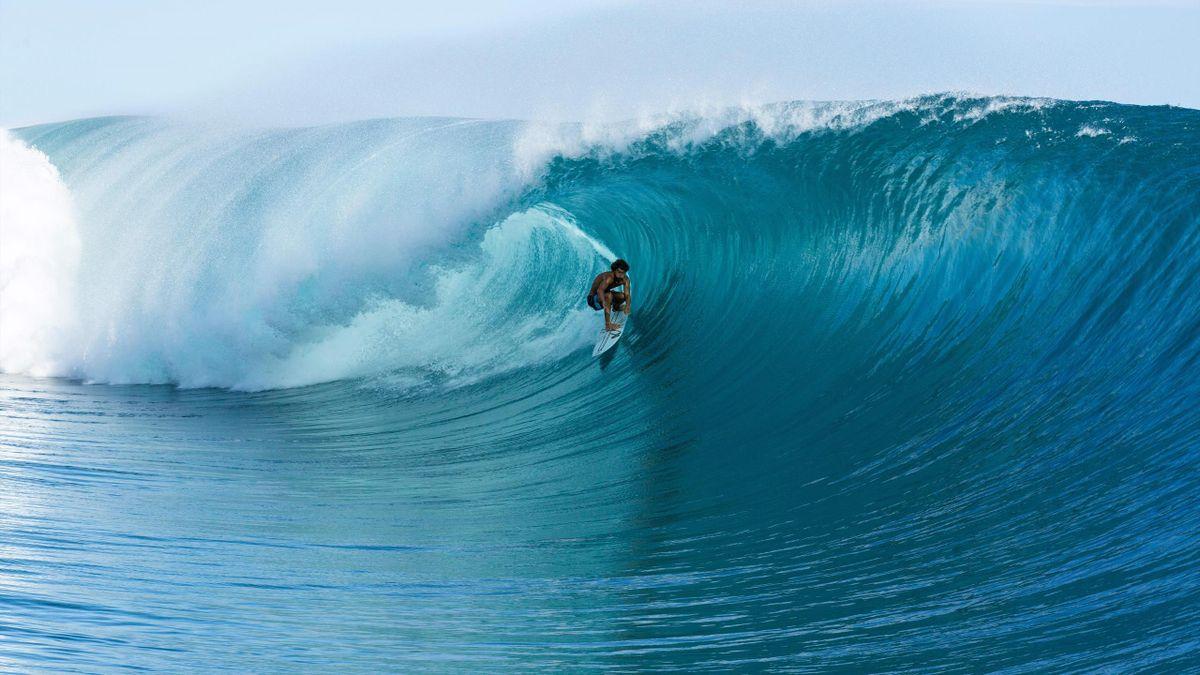 Matahi Drollet, sur la côte de Tahiti, qui devrait accueillir les évènements de surf lors des JO de Paris, en 2024