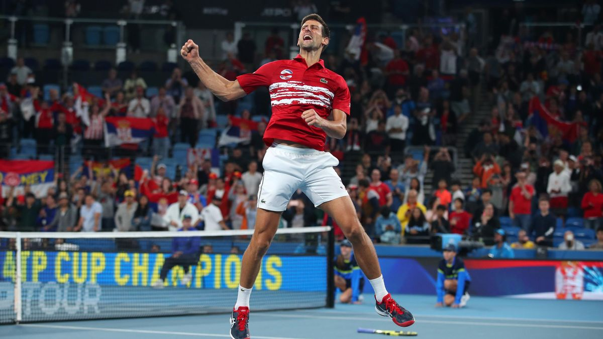 Novak Djokovic of Serbia celebrates after defeating Spain in the ATP Cup Final on day 10 of the ATP Cup at Ken Rosewall Arena on January 12, 2020 in Sydney, Australia