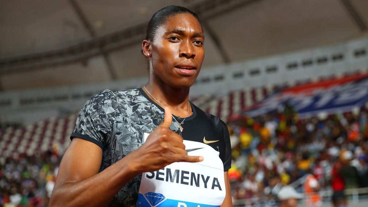 Caster Semenya of South Africa celebrates winning the Women's 800 metres during the IAAF Diamond League event at the Khalifa International Stadium on May 03, 2019 in Doha, Qatar.