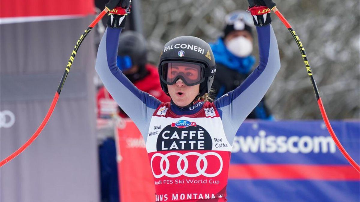 Sofia Goggia of Italy celebrates during the Audi FIS Alpine Ski World Cup Women's Downhill on January 23, 2021