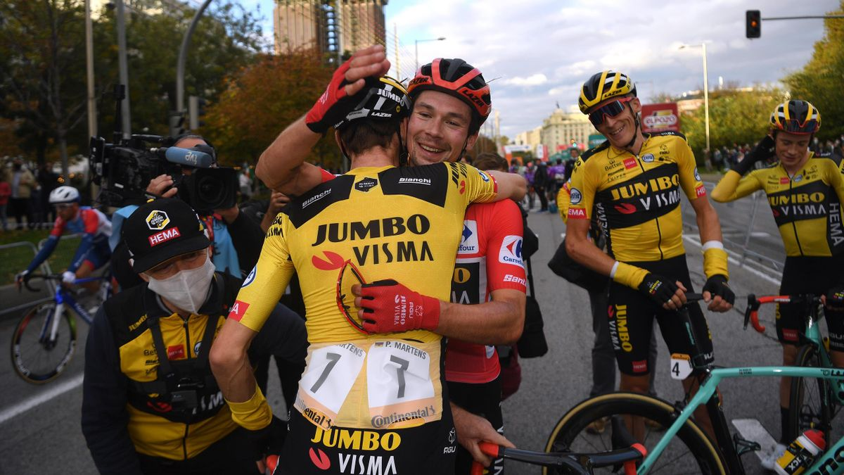 Paul Martens of Germany, Primoz Roglic of Slovenia Red Leader Jersey, Robert Gesink of The Netherlands and Jonas Vingegaard Rasmussen of Denmark and Team Jumbo - Visma / Celebration / during the 75th Tour of Spain 2020, Stage 18 of La Vuelta