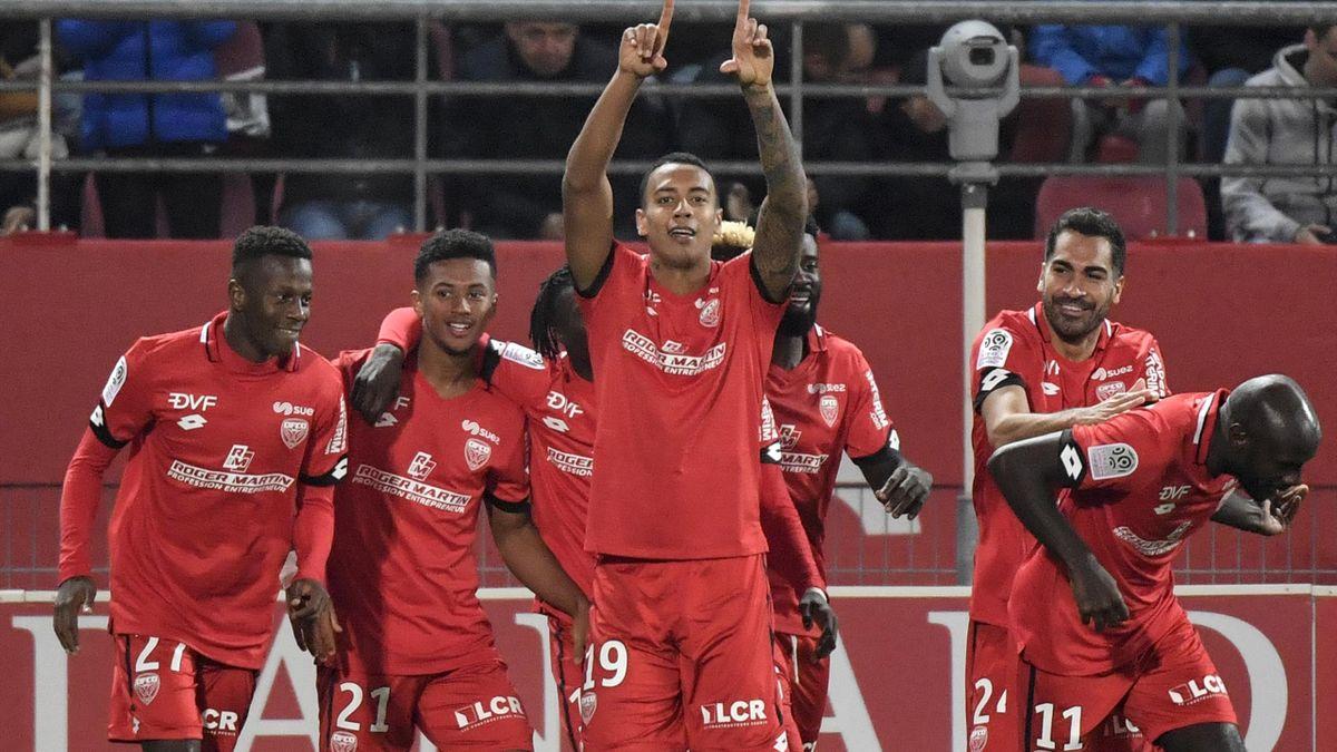 Jhonder Cadiz (Dijon) buteur face au PSG lors d'une victoire 2-1, le 01/11/2019