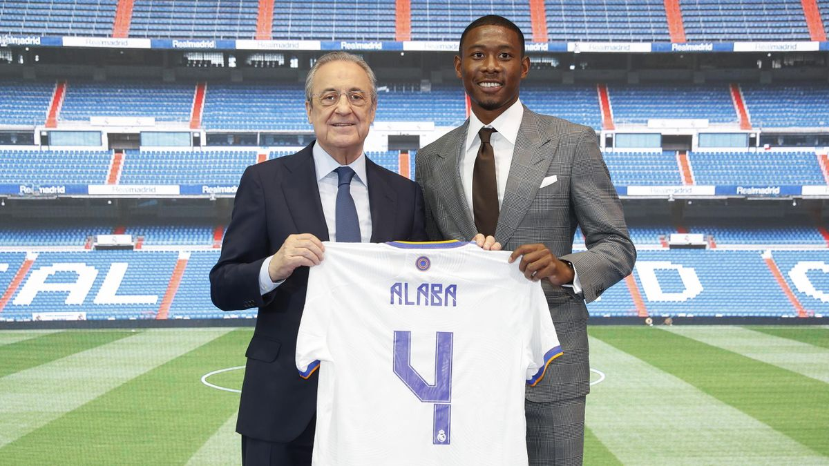 New signing David Alaba of Real Madrid and Florentino Pérez on July 21, 2021 in Madrid, Spain