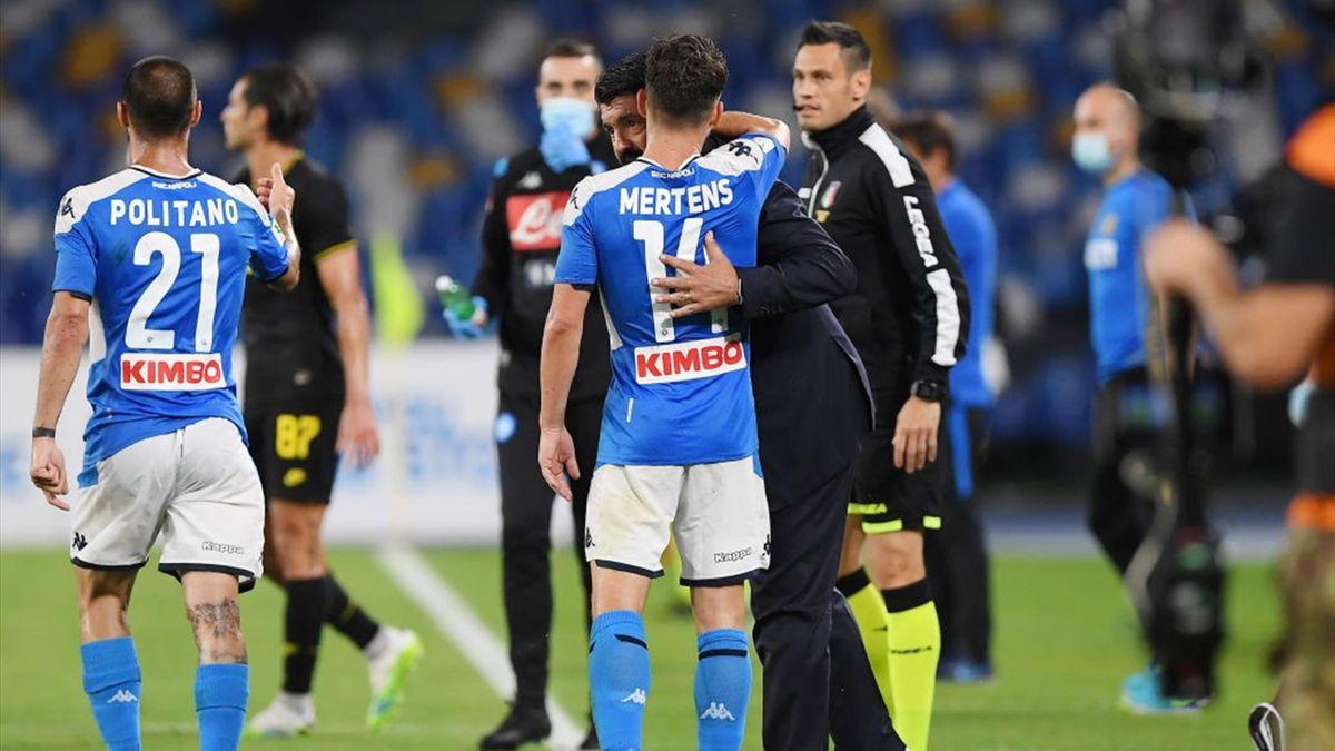 Mertens, Gattuso - Napoli-Inter - Coppa Italia 2019-2020 - Getty Images