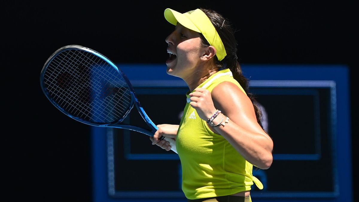Jessica Pegula of the United States celebrates winning match point in her Women's Singles fourth round match against Elina Svitolina of Ukraine during day eight of the 2021 Australian Open at Melbourne Park on February 15, 2021 in Melbourne, Australia.