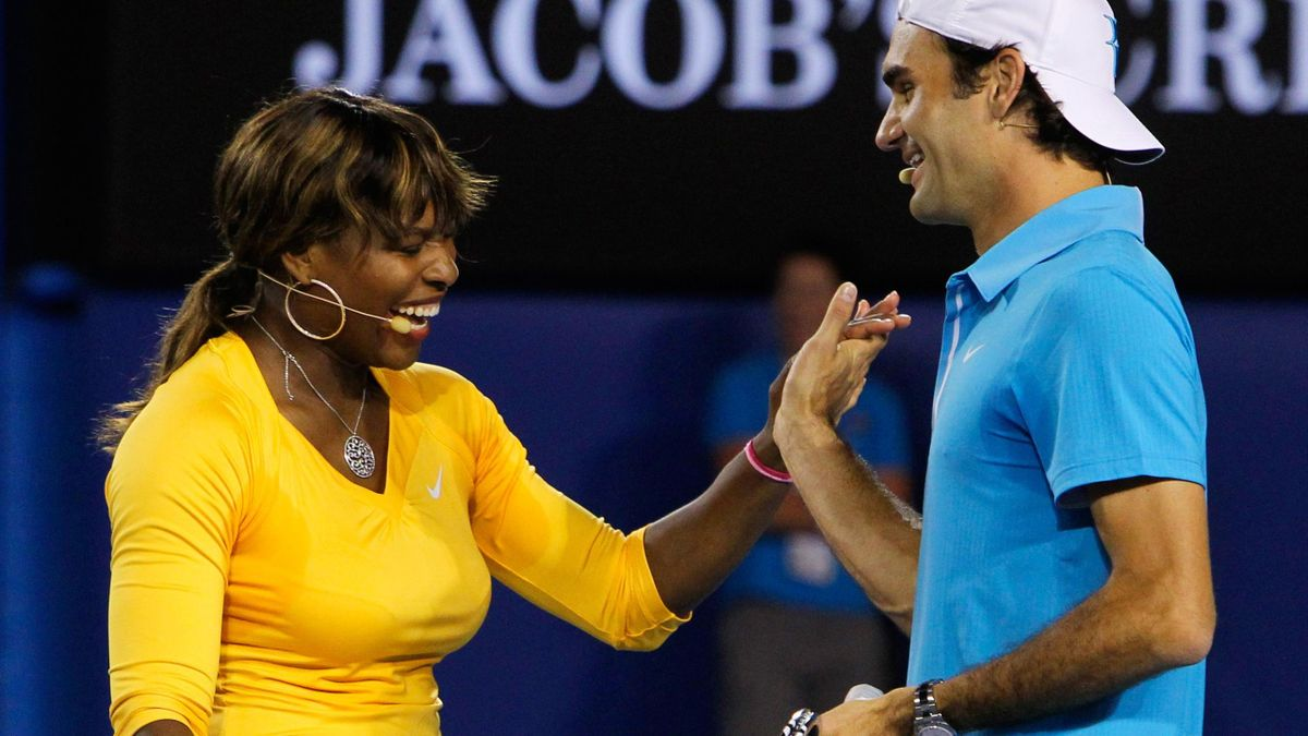 Serena Williams and Roger Federer at the Australian Open