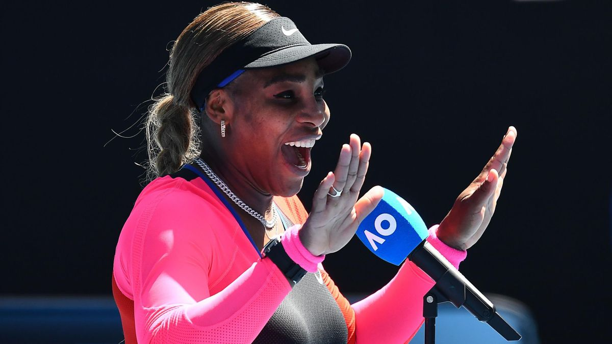 Serena Williams of the US gestures after beating Russia's Anastasia Potapova during their women's singles match on day five of the Australian Open tennis tournament in Melbourne