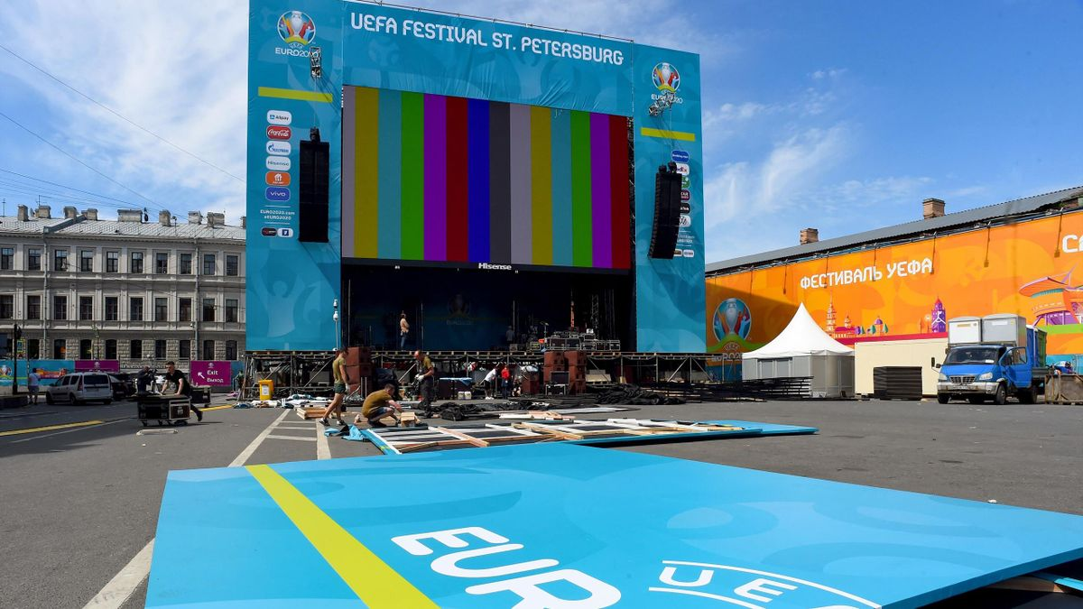 The UEFA EURO 2020 fan zone is being built in downtown Saint Petersburg on June 9, 2021. - The European championship, which was delayed from last year due to the Covid-19 pandemic, is set to take place across the continent between June 11 and July 11, 202