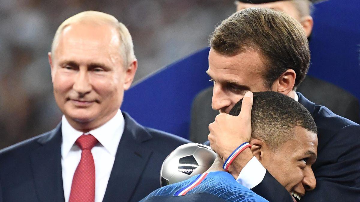 Килиан Мбаппе, Эммануэль Макрон (Франция), Владимир Путин (Россия), ЧМ-2018