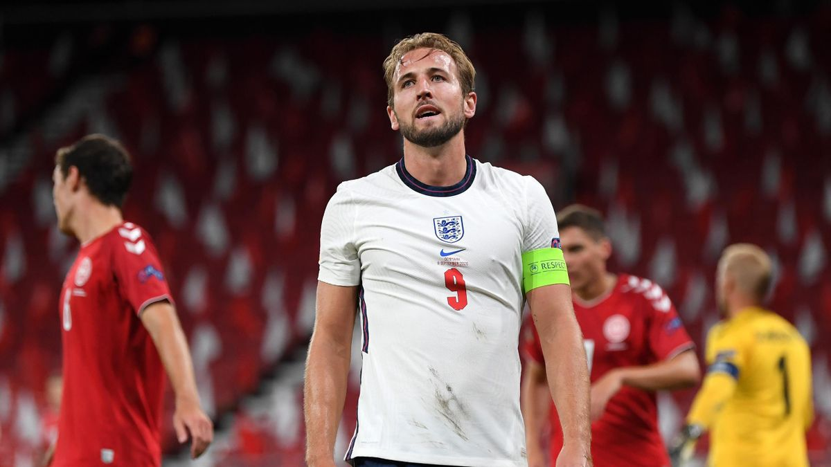 Harry Kane of England reacts during the UEFA Nations League group stage match between Denmark and England at Parken Stadium