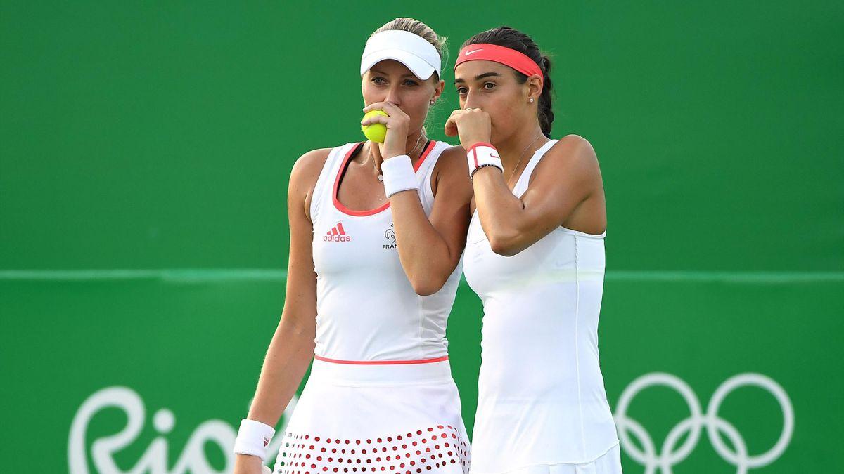 Kristina Mladenovic aux côtés de Caroline Garcia lors des JO de Rio