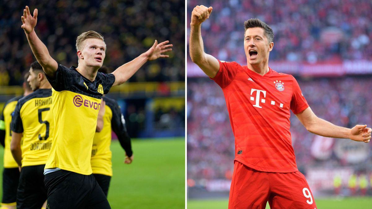 Erling Haaland (Borussia Dortmund, dreapta) și Robert Lewandowski (Bayern Munchen, stânga) se vor afla față în față în derby-ul de marți, 26 mai