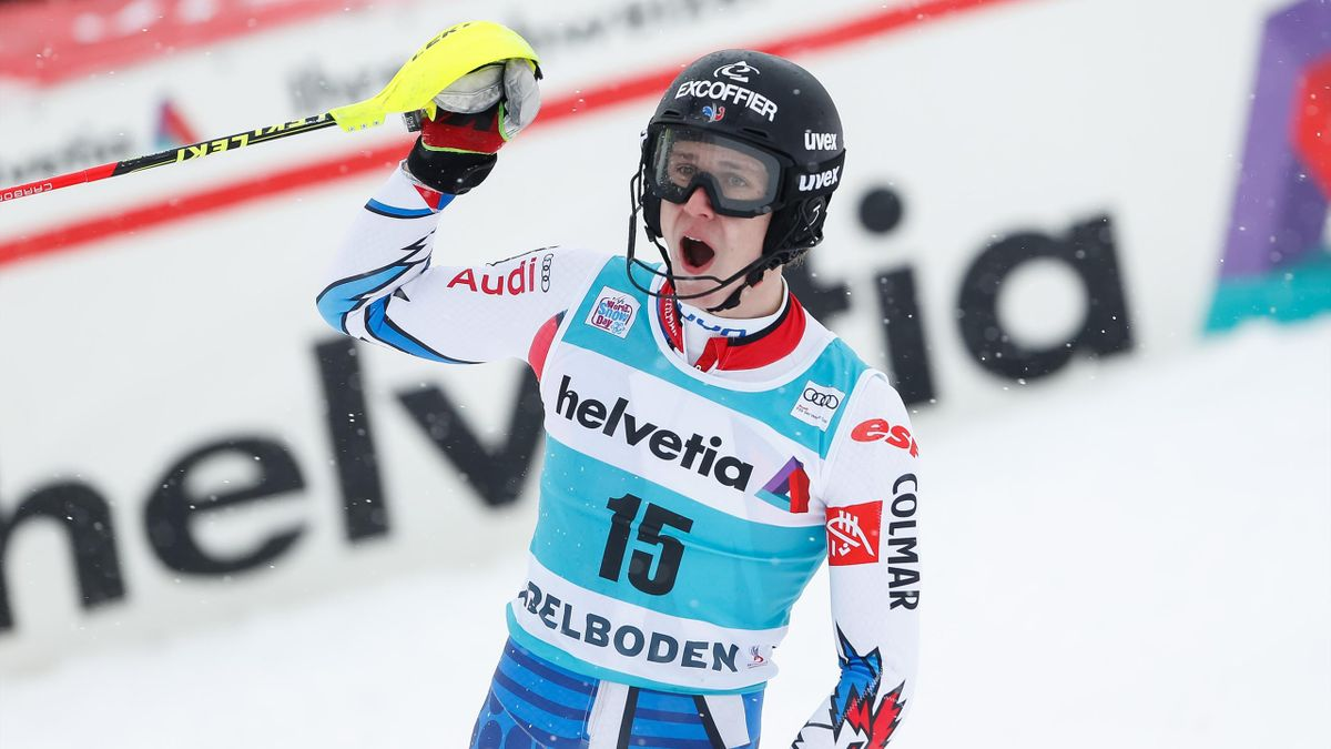 Clement Noel of France takes 2nd place during the Audi FIS Alpine Ski World Cup Men's Slalom on January 13, 2019 in Adelboden