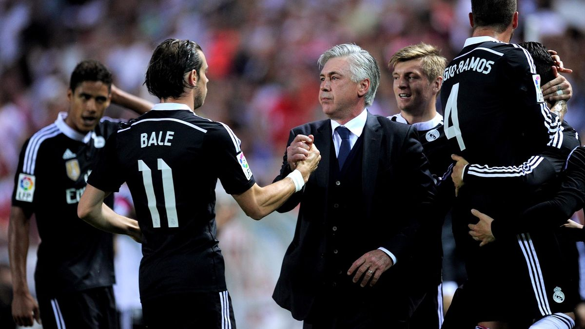Gareth Bale with Carlo Ancelotti during his first spell in charge of Real Madrid
