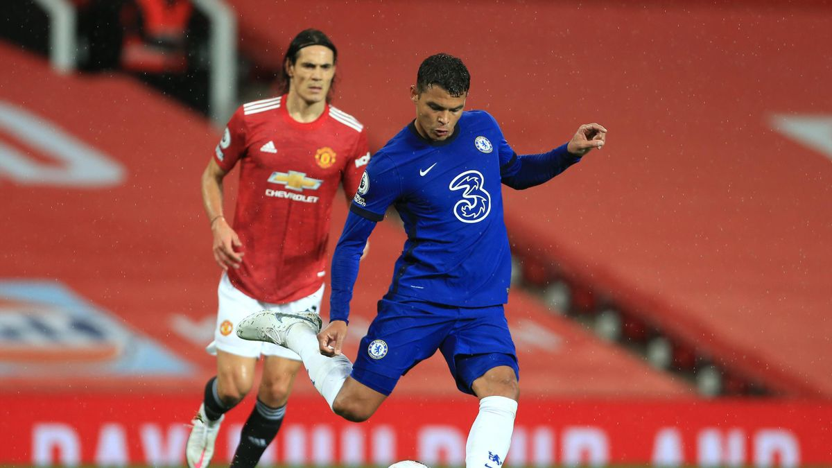 Edinson Cavani of Man Utd and Thiago Silva of Chelsea during the Premier League match between Manchester United and Chelsea at Old Trafford on October 24, 2020 in Manchester, United Kingdom