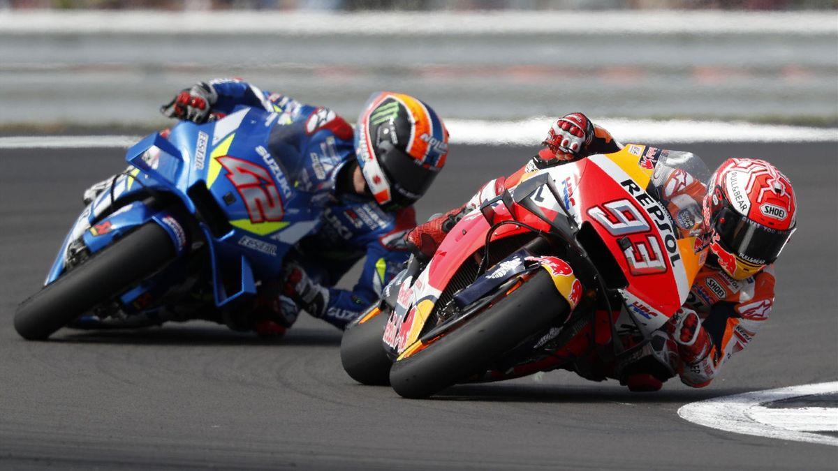Marc Marquez (Honda HRC) devant Alex Rins (Suzuki Team) au Grand Prix de Grande-Bretagne 2019
