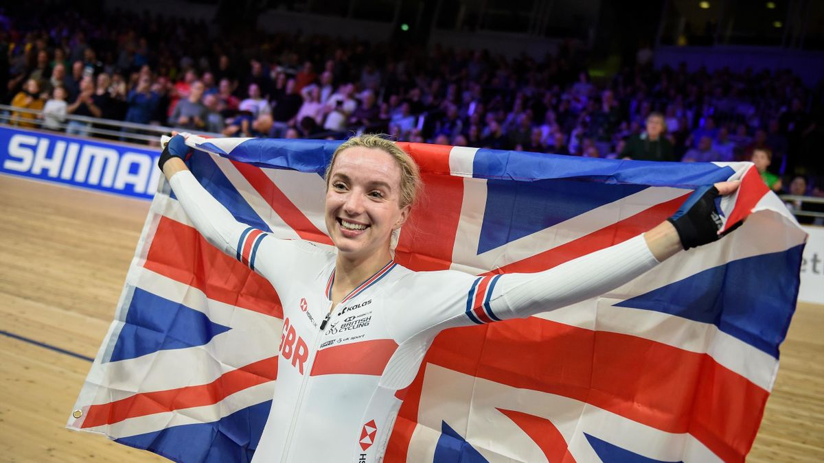 Great Britain's Elinor Barker celebrates after the women's 25km points final at the UCI track cycling World Championship at the velodrome in Berlin on March 1, 2020