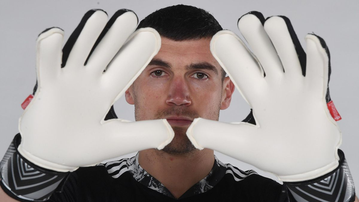 Arsenal unveil new loan signing Mat Ryan at London Colney on January 21, 2021 in St Albans, England