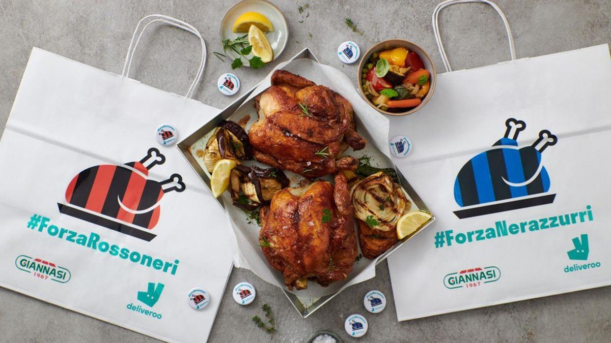 Il pollo per il derby tra Milan e Inter di Deliveroo