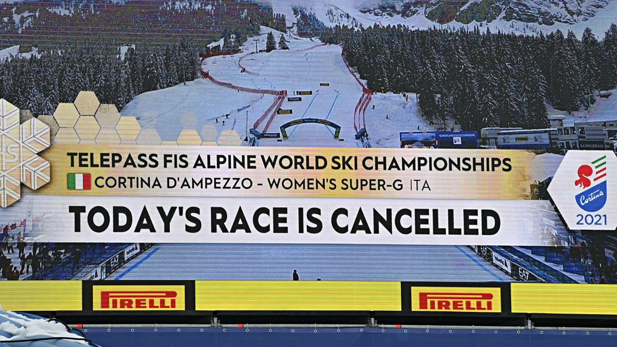 Due to fog the jury with the LOC have decided to cancel the FIS Alpine Ski World Championships Women's Super Giant Slalom on February 09, 2021 in Cortina d'Ampezzo Italy