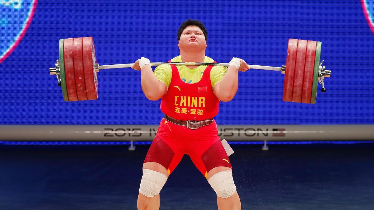 Suping Meng of China competes in the women's +75kg weight class during the 2015 International Weightlifting Federation World Championships at the George R. Brown Convention Center on November 28, 2015 in Houston, Texas