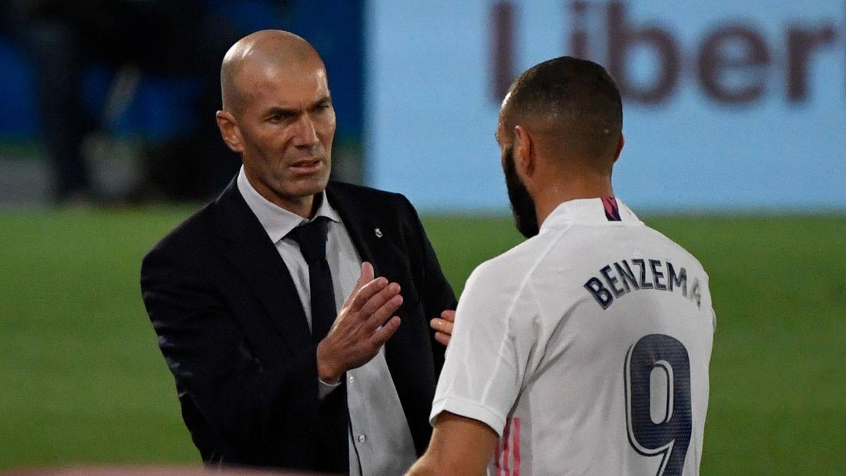 Zinedine Zidane (L) and Karim Benzema (R)