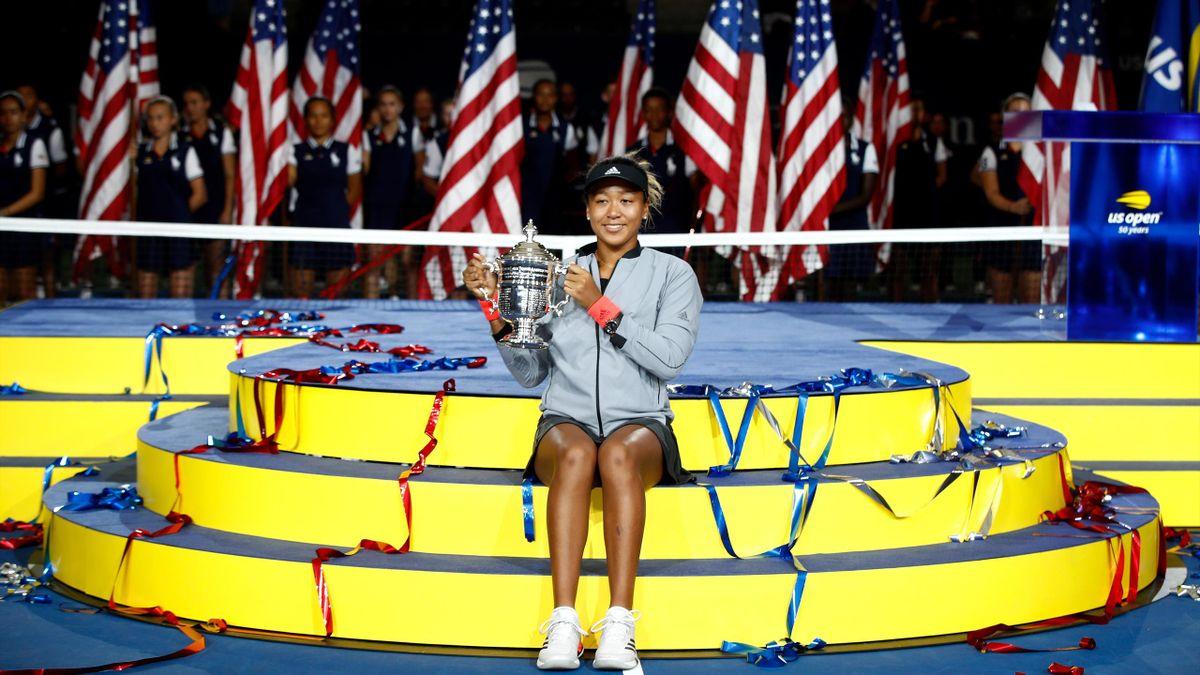 Naomi Osaka celebrates winning the US Open