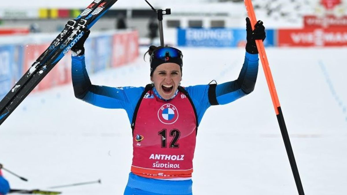 Julia Simon victorieuse de la Mass start à Antholz - Anterselva le 23 janvier 2021