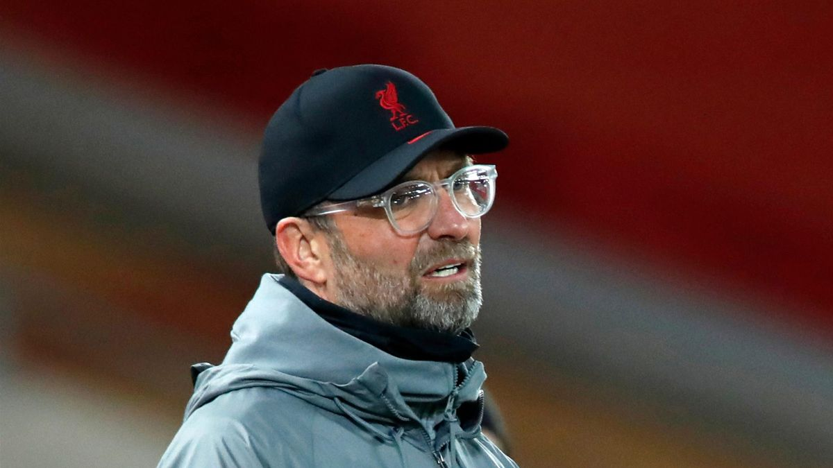 Liverpool's German manager Jurgen Klopp gestures from the touchline during the English Premier League football match between Liverpool and West Ham United at Anfield in Liverpool, north west England on October 31, 2020.