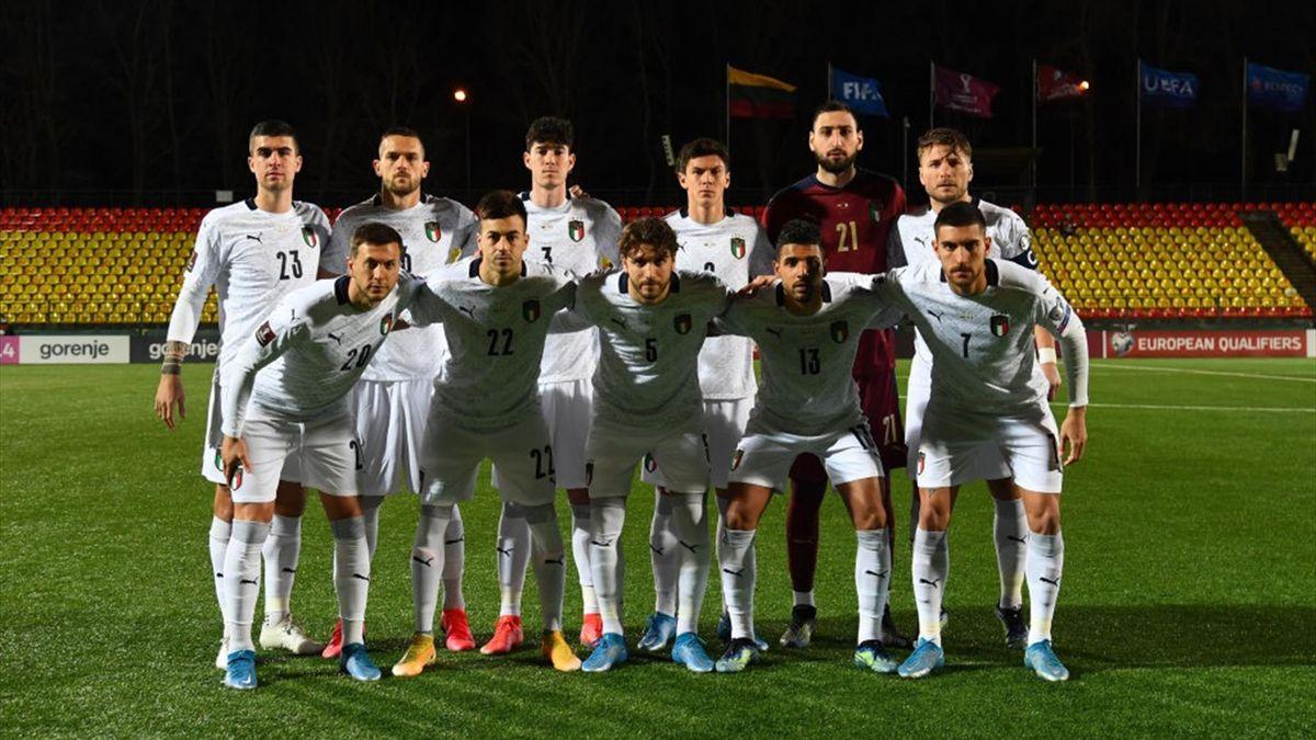 La formazione dell'Italia scesa in campo contro la Lituania a Vilnius - Qualificazioni Mondiali Qatar 2022